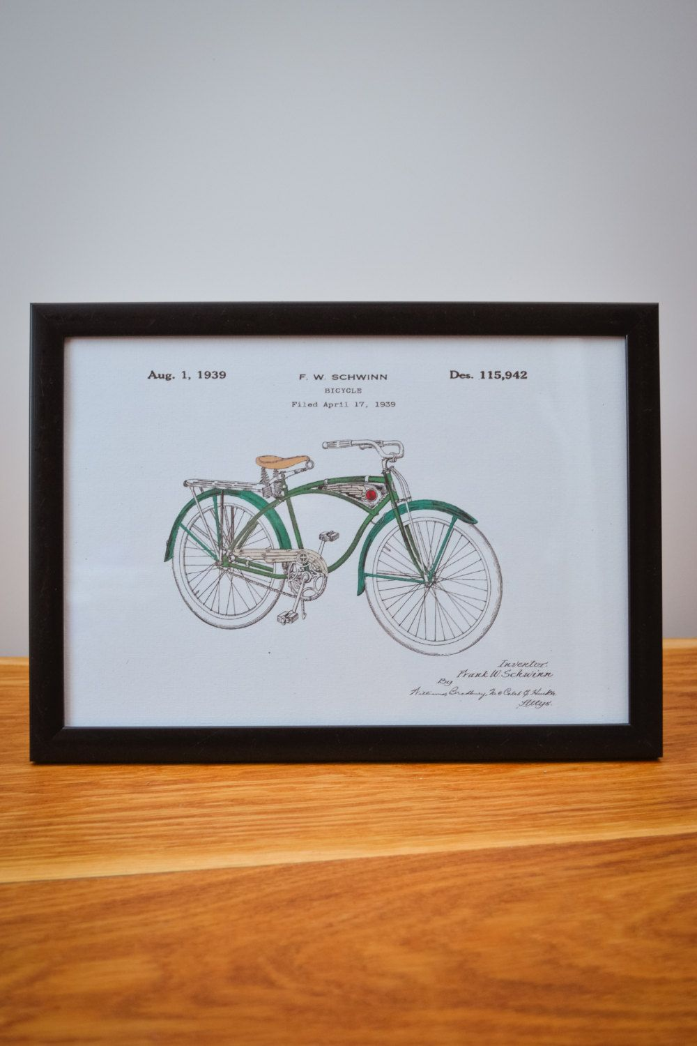 Vintage coloured Schwinn Bicycle patent art print.