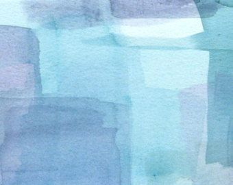 """Art small watercolor abstract painting, Titled 'Cloud Watching' by Victoria Kloch,  purple, blue,  5"""" x 7"""""""