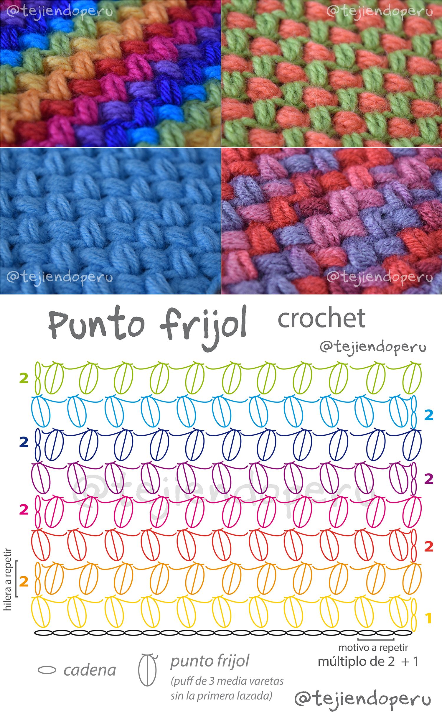Punto frijol o bean stitch tejido a crochet. Diagrama y video ...