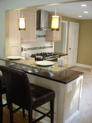 Caesarstone peninsula with granite raised breakfast bar-Kitchen + ...