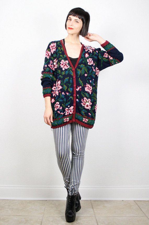 746f5a142c09 Vintage Oversize Sweater Floral Knit Jumper V Neck Cardigan 1990s ...