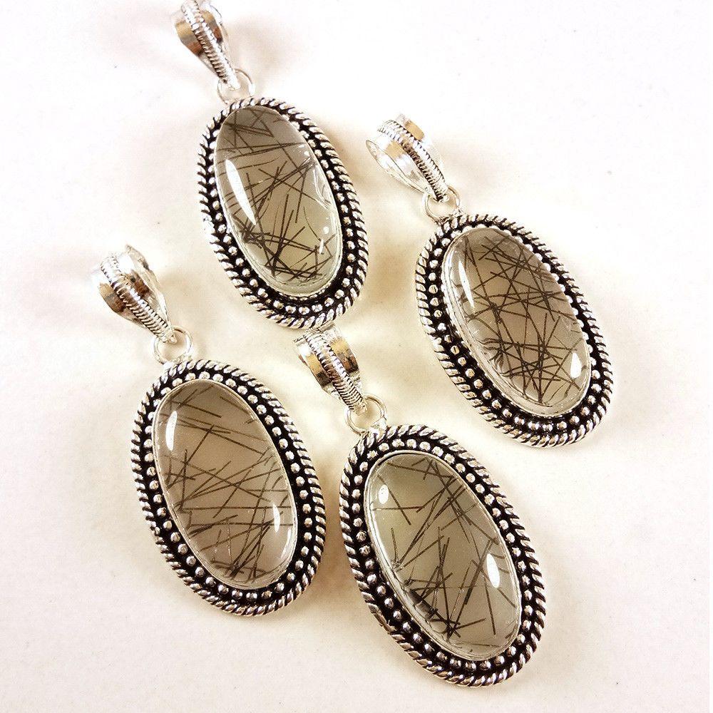 New 4 PCs Lot Black Rutile Gemstone 925 Silver Plated Necklace Pendants Jewelry #Gajrajgems92_9 #Pendant