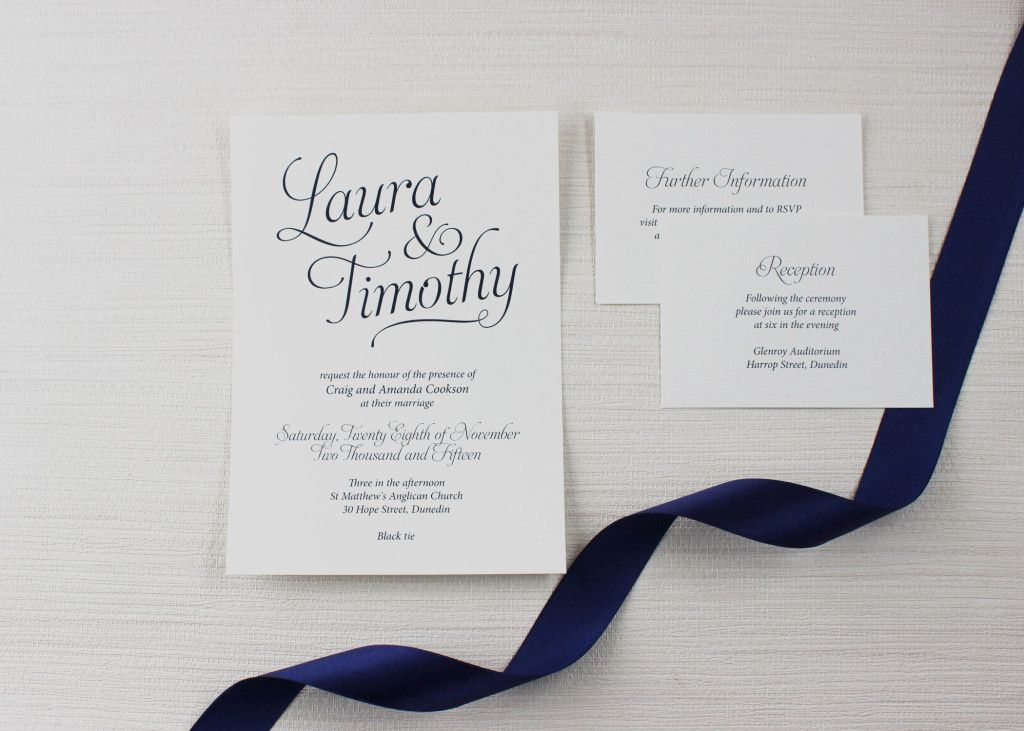 Simple Script Navy Traditional Wedding Invitation in 2020 ...