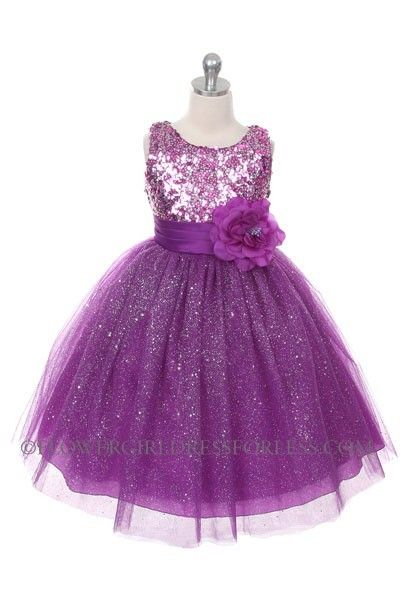 Girls Dress Style 1025- Purple Sleeveless Tulle Dress With Sequin