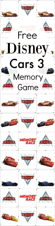 Free Disney Cars 3 Memory Match Game Printable Memory