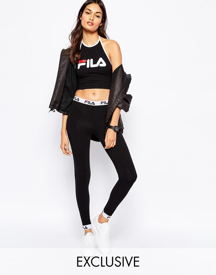 fila legging avec galon logo imprim images marque vetement et marque. Black Bedroom Furniture Sets. Home Design Ideas