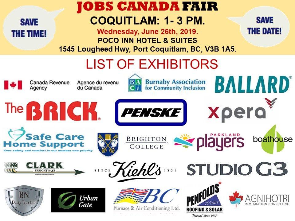 List of Hiring Companies for CoquitlamJobFair June 26th