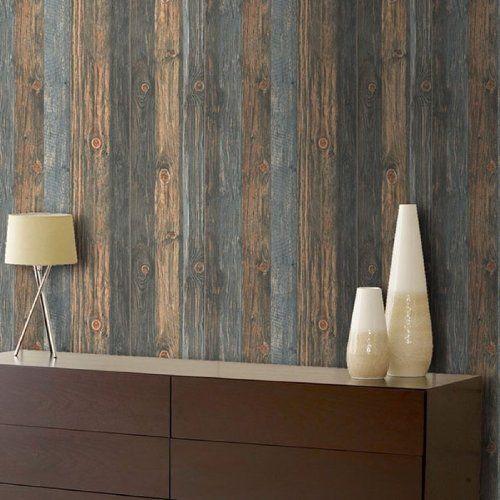 Reclaimed Wood panel Effect Faux wallpaper |Browns Blue (Full Roll)  wallpaper heaven, - Reclaimed Wood Panel Effect Faux Wallpaper |Browns Blue (Full Roll