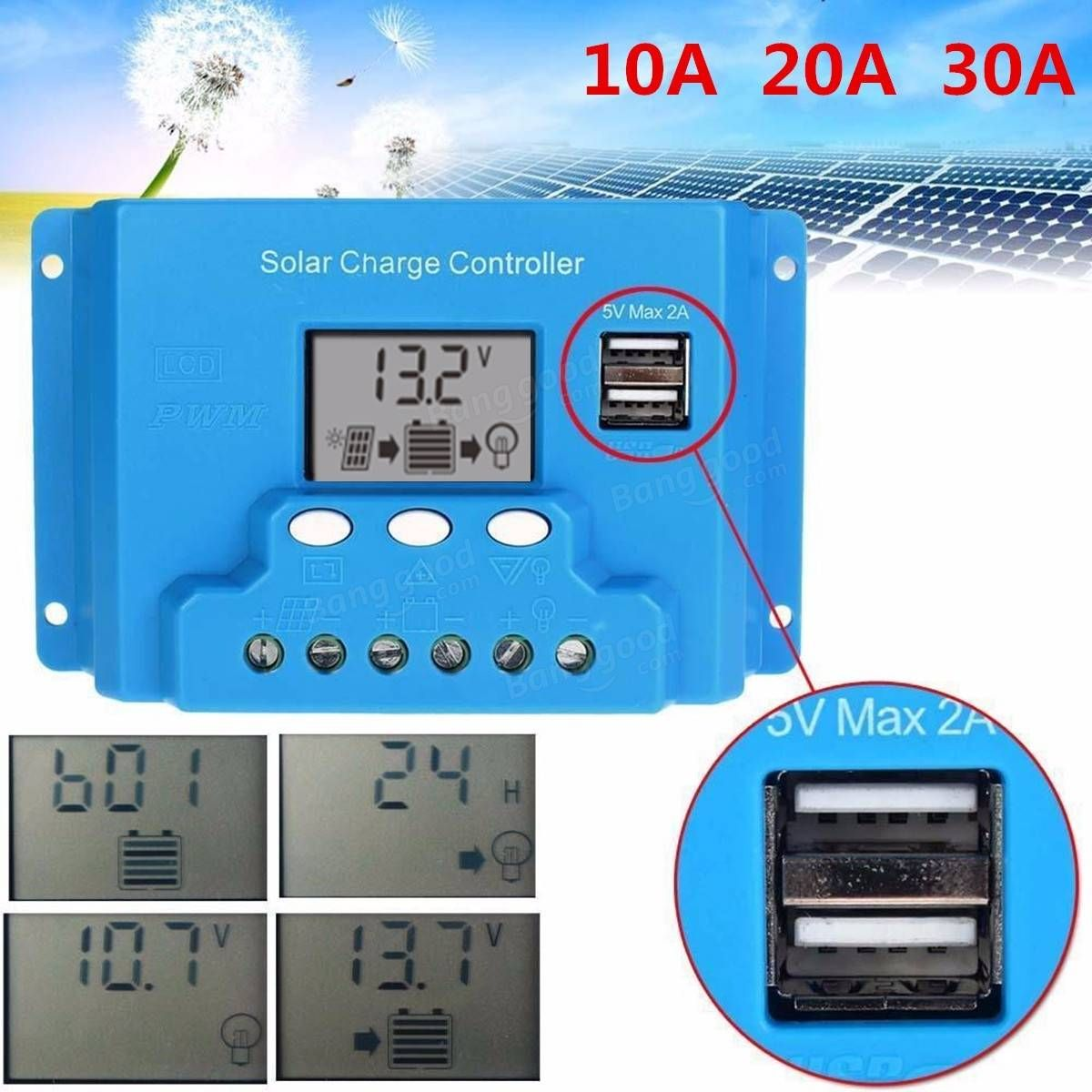 10a 20a 30a Lcd Pwm Solar Panel Charge Controller Battery Regulator 12v 24v With Dual Usb Electrical Equipment Supplies From Industrial Scientific On Banggo Dual Usb Solar Panels Solar