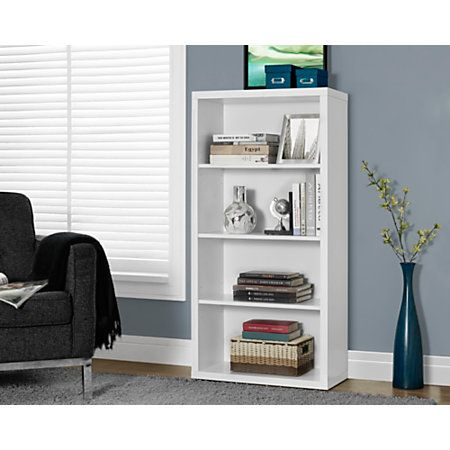 "Monarch Specialties Adjustable 3-Shelf Bookcase, 48""H x 24""W x 12""D, White"