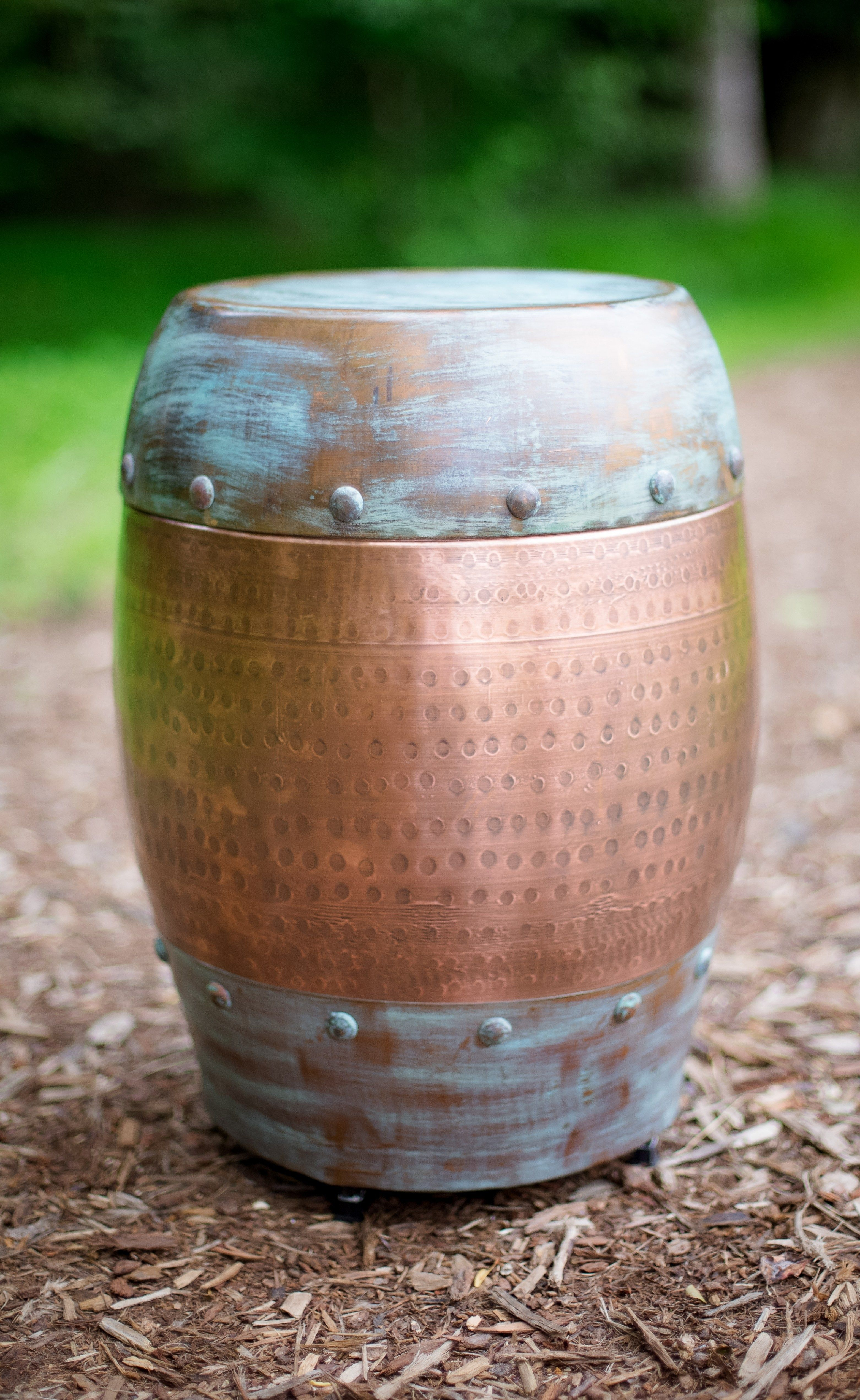 Frenchys copper drum side table table rentals near me