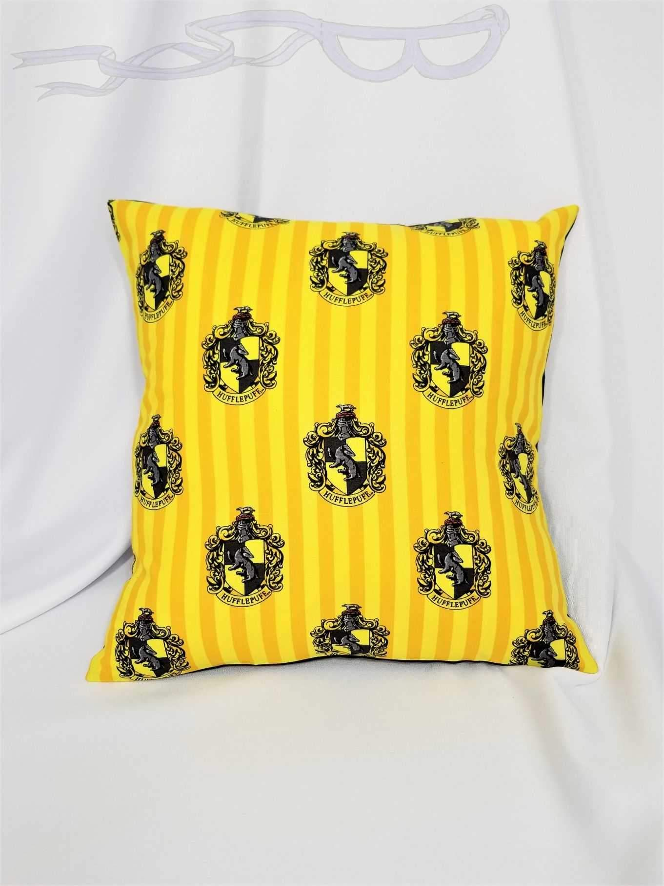 Hufflepuff House fabric made into a cotton throw pillow cover - Words