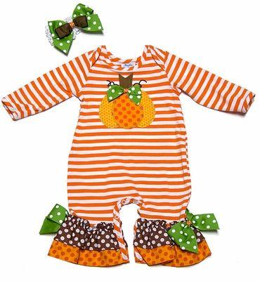 e7b6ab515 Peaches 'n Cream Baby Girls Orange Striped Pumpkin Romper with Headband
