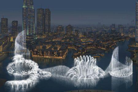 The Dubai Fountain is a record-setting choreographed fountain system set on the 30-acre manmade Burj Khalifa Lake, at the center of the Downtown Dubai development in Dubai, United Arab Emirates. #dubai #uae