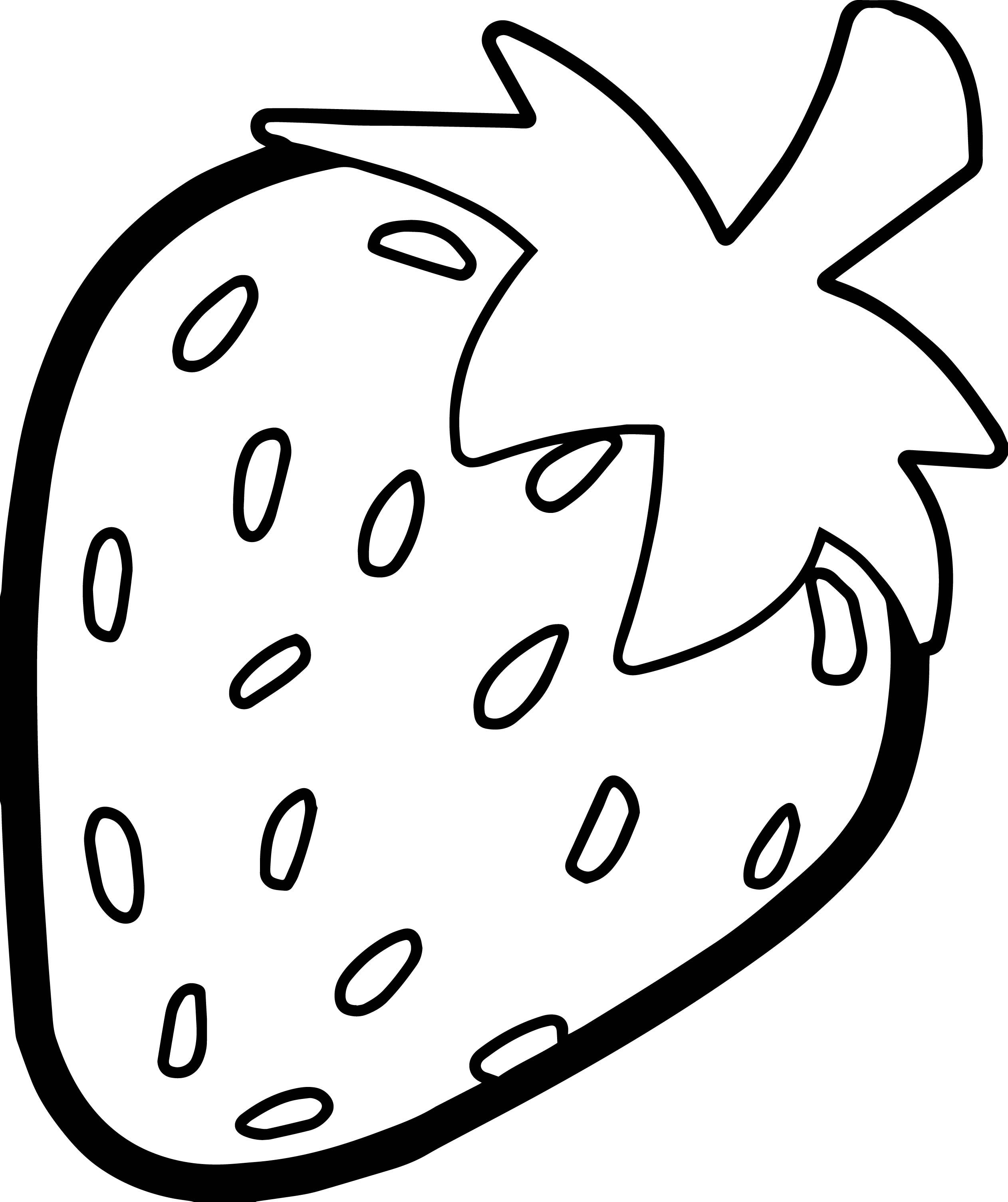 Nice Strawberry Bold Outline Coloring Page Fruit Coloring Pages