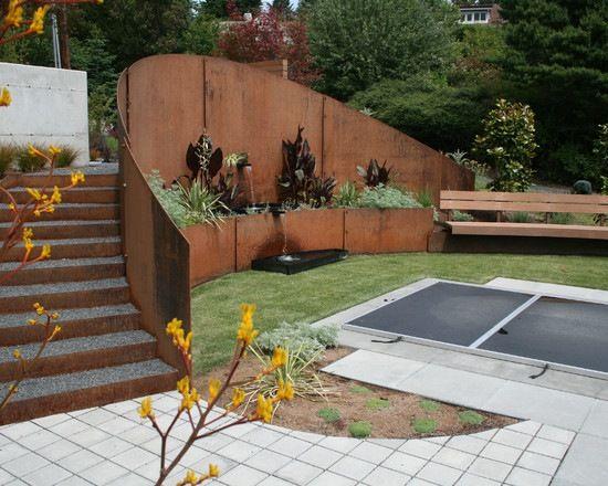 Sichtschutz Wand Holz Stützmauer Kostengünstig Dekorativ Ideen