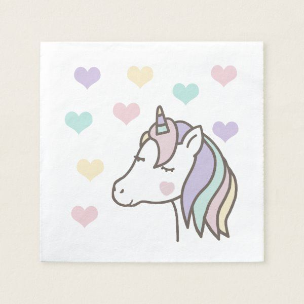 Cute Unicorn Dreaming of Hearts Birthday Napkins   Zazzle com - Birthday napkins, Birthday party napkin, Unicorn birthday invitations, Unicorn birthday parties, Unicorn themed birthday party, Birthday party gift - Cute unicorn dreaming of hearts  Lovely idea for a unicorn themed birthday party!
