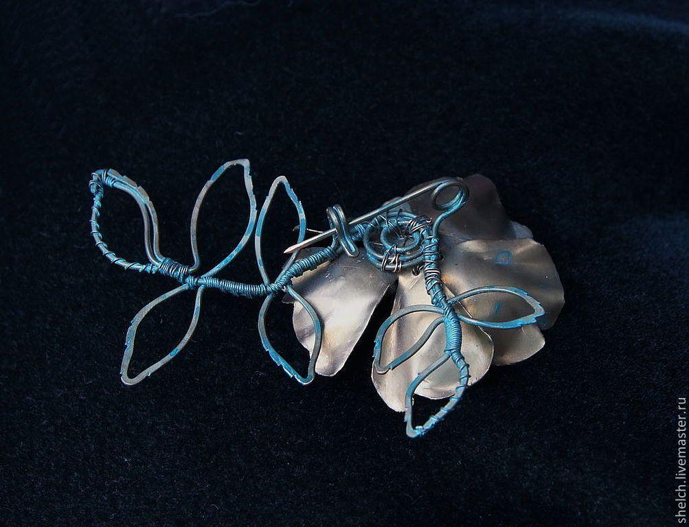 Купить брошь Розовый шиповник (медная брошка, цветок из меди) - брошь цветок, авторская брошь