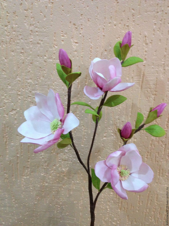 ec504664fe93 Купить Ветка магнолии - комбинированный, магнолия, цветы ручной работы,  цветочная композиция, цветы из фоамирана