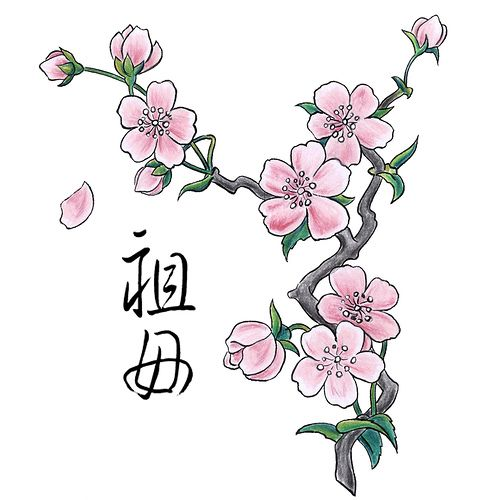 Inkspired Musings Is It Time For Cherry Blossoms Cherry Blossom Drawing Flower Tattoo On Ankle Flower Sketches