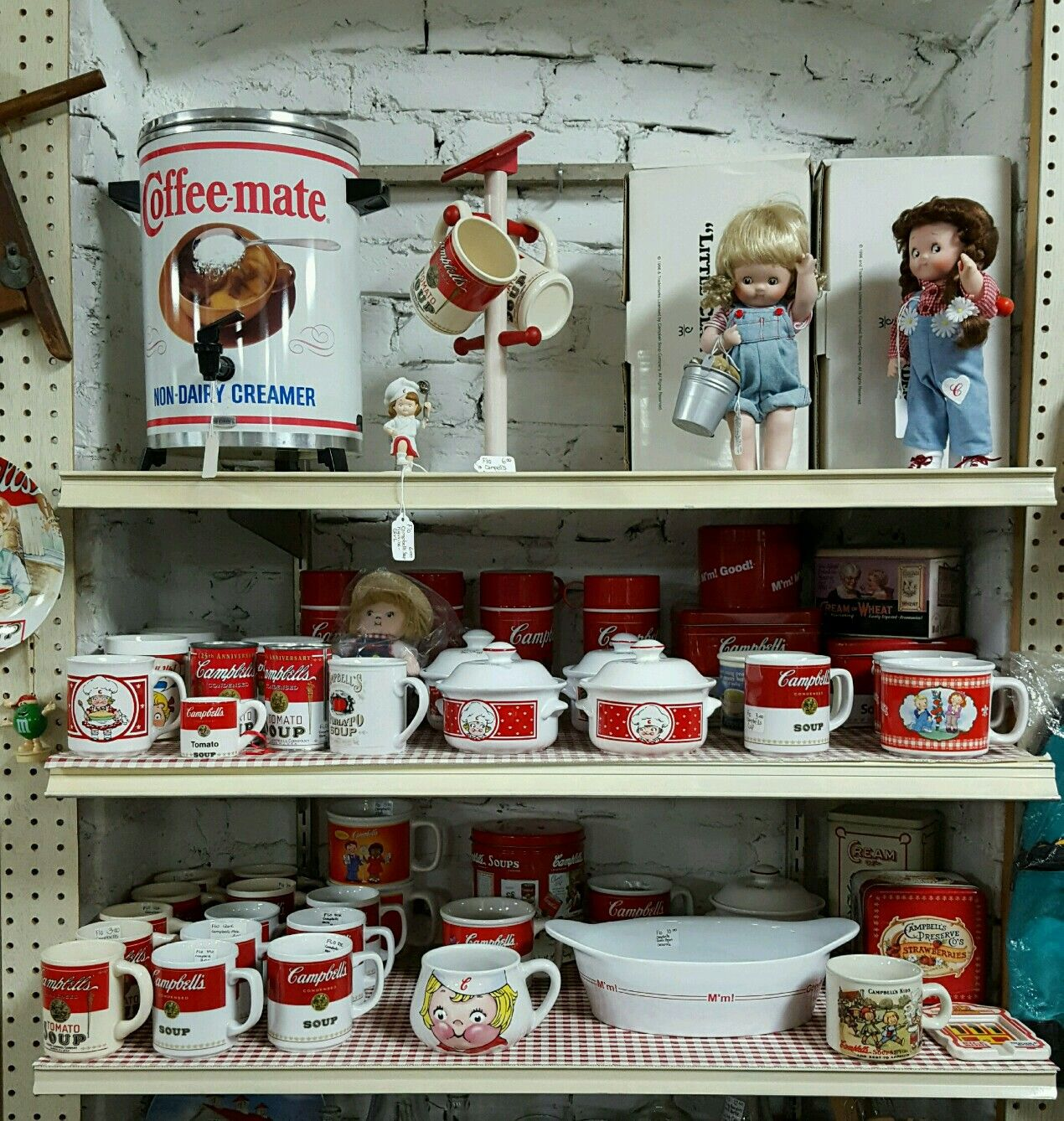 Campbells soup items available  at the Columbus Antique Mall. Columbus Wisconsin.