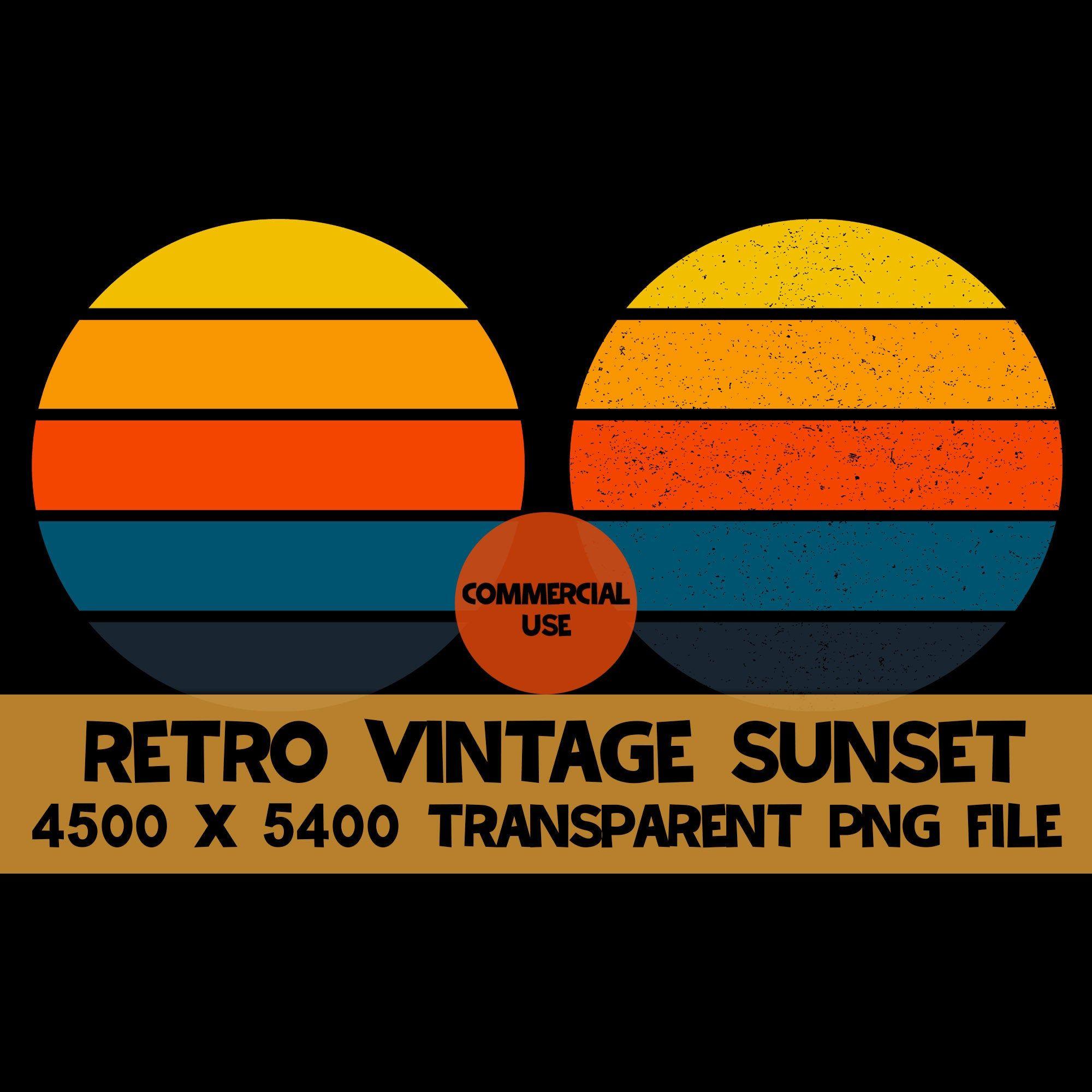 Retro Vintage Sunset 2 Pack Png Background Clip Art Distressed Etsy Clip Art Retro Vintage Retro