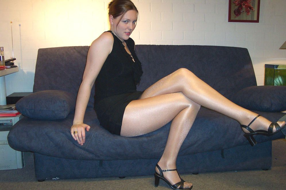 Candid mature crossed white legs