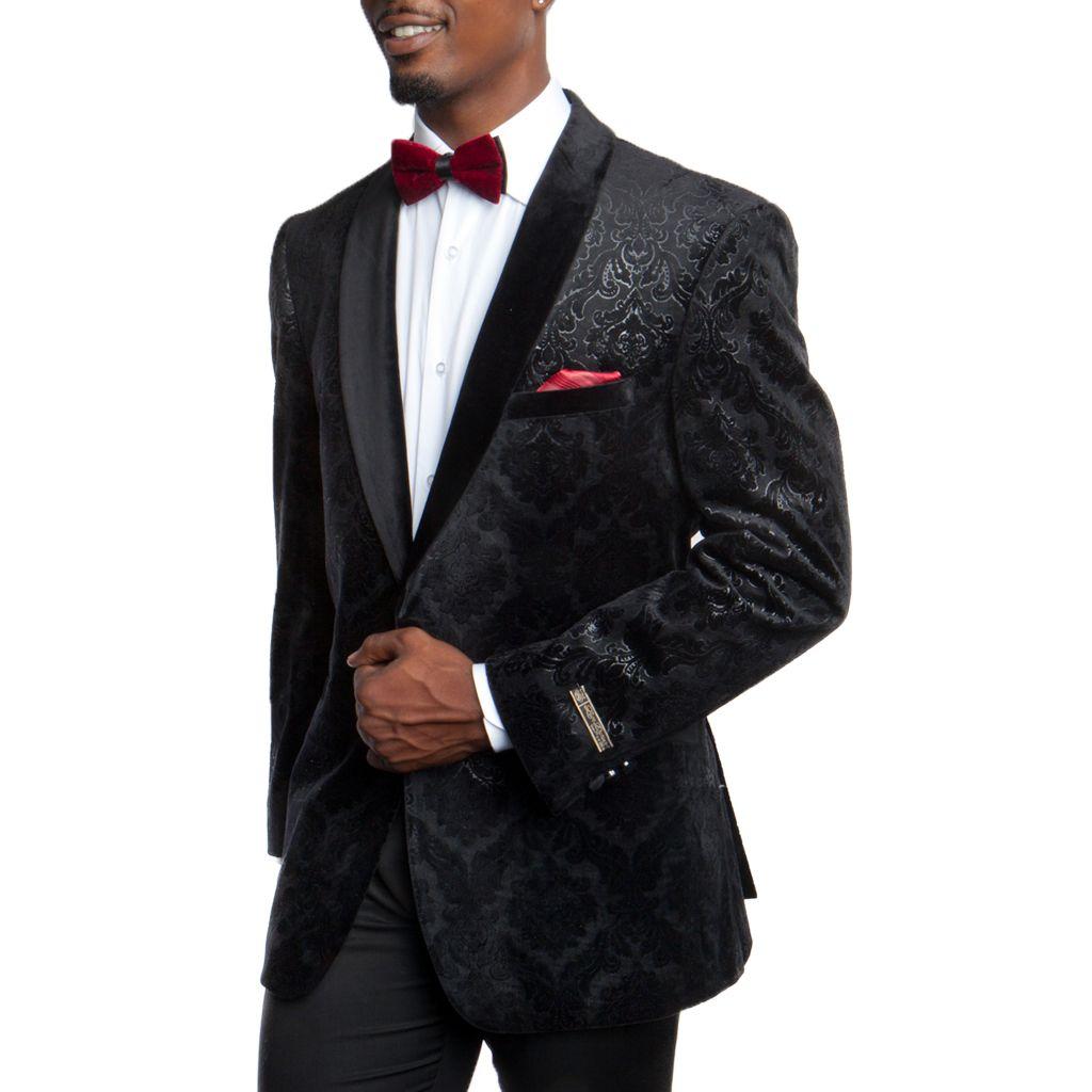 Mens black velvet tuxedo jacket floral pattern with black velvet shawl  lapel. This fashionable tuxedo