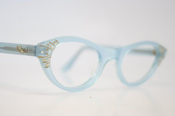 bd09225594a Blue Rhinestone cat eye glasses vintage cateye frames eyeglasses 1950s  glasses