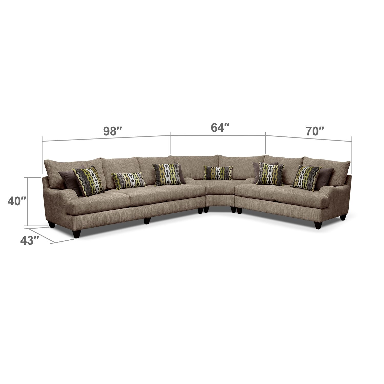 Living Room Furniture - Santa Monica II 3-Piece Sectional   Living ...