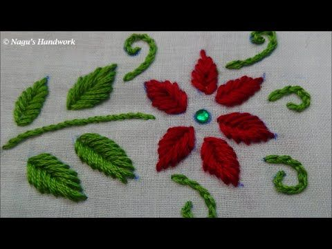 Fish Bone Stitch Hand Embroidery Tutorials By Nagu S Handwork Embroidery Tutorials Hand Embroidery Tutorial Hand Embroidery Designs
