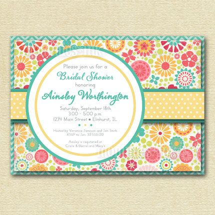 Shabby Chic Bright Colorful Flowers And Polka Dots Bridal Shower Invite Printable Invitation Design