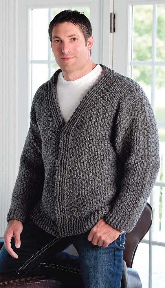 W40 Crochet PATTERN ONLY Men's Mill Creek Cardigan Sweater Pattern Adorable Mens Crochet Sweater Pattern