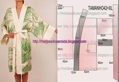 ROBE MANGA JAPONESA FÁCIL DE FAZER - 1 ~ Moldes Moda por Medida Roupão de banho