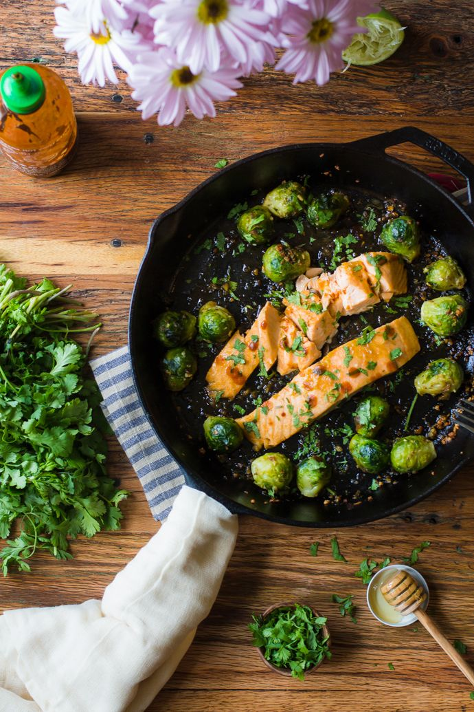 Sriracha & Lime Salmon with Garlic Roasted Brussel Sprouts