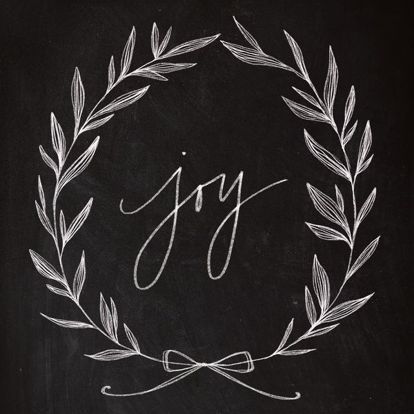 $ 20-50 Chalkboard Art - Joy Wreath Art Print