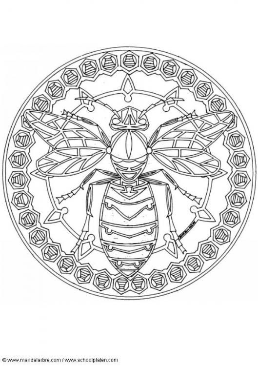Coloring Page Wasp Mandala Img 4548 Bee Coloring Pages Coloring Pages Bee Art