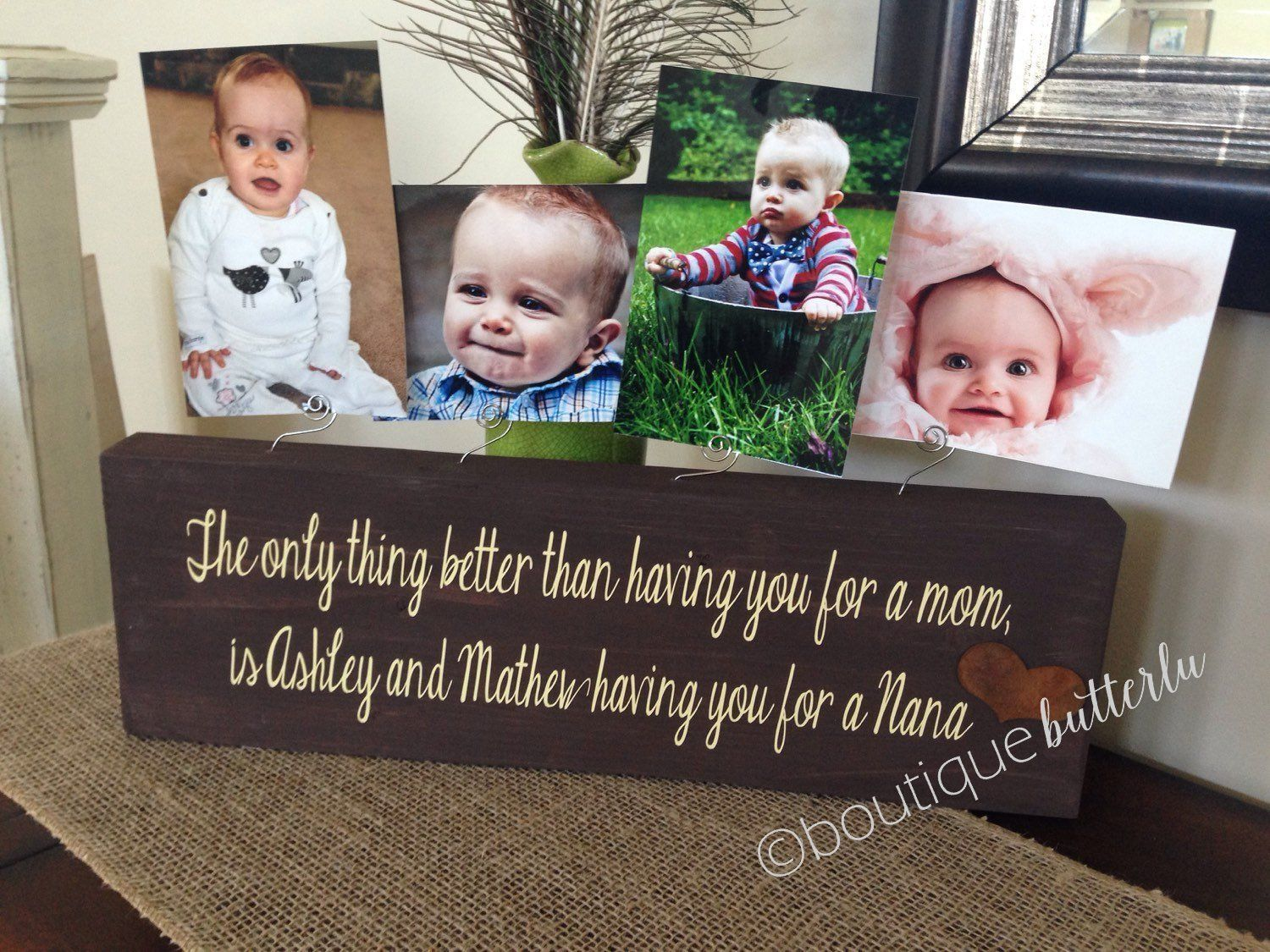 Nana grandma Personalized picture frame board aunt uncle baby shower ...