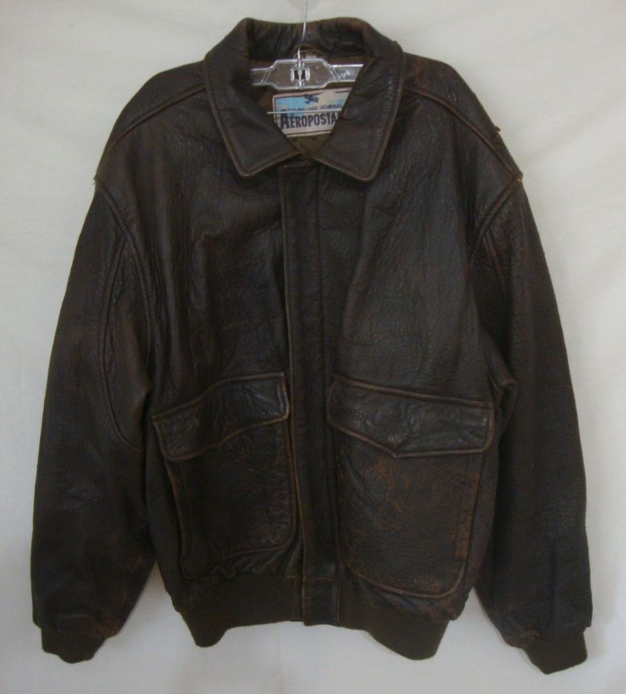 1ad96ceb9 Vintage 80s Leather A2 Flight Bomber Jacket Compagnie Generale ...