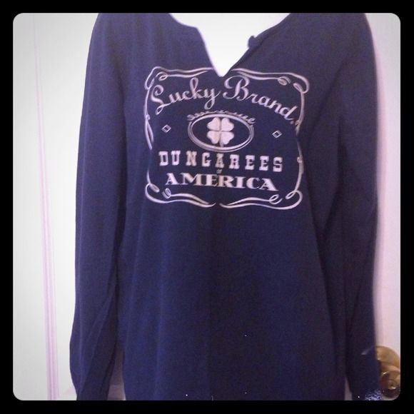 Lucky Brand Long sleeve Tee Navy with cream colored lettering. Size XL. In very good condition. Neck was split whem purchased Lucky Brand Tops Tees - Long Sleeve