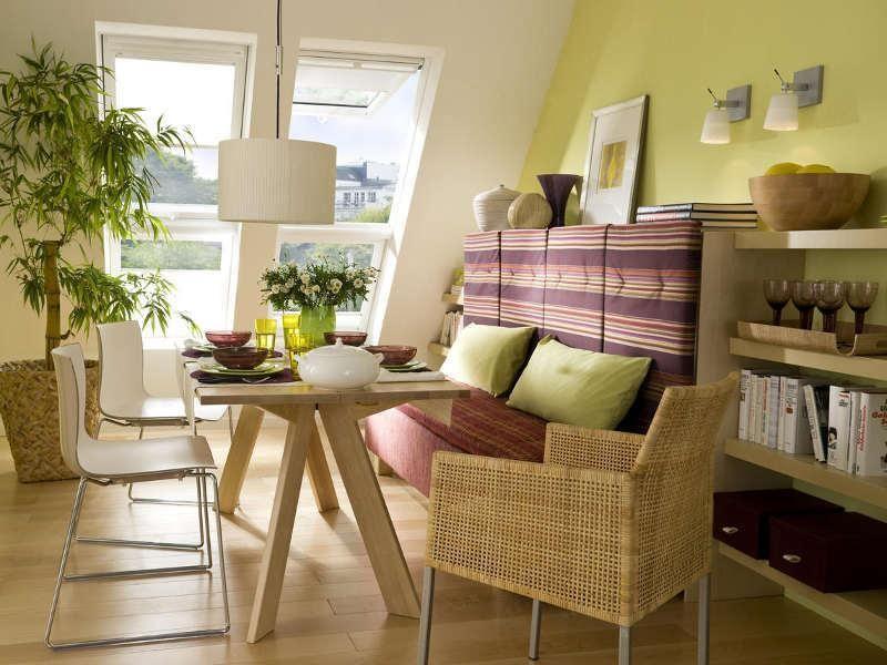Dachschrägen müssen clever genutzt gar nicht zum Wohnproblem - esszimmer mit farbe gestalten