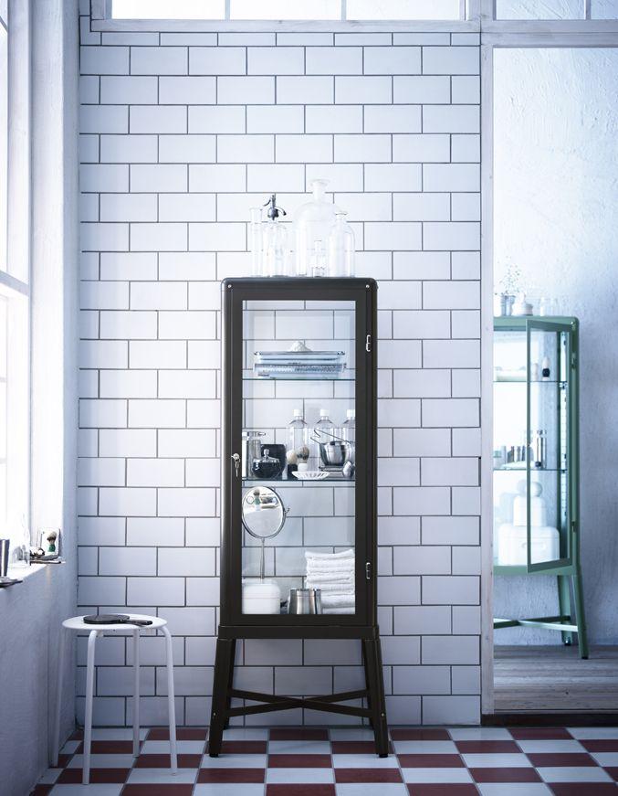 Fabrik R Glass Door Cabinet Beige Industrial Style
