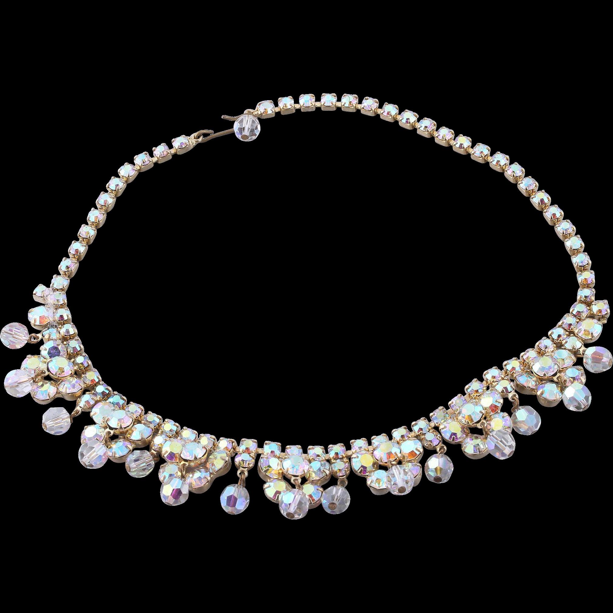 Bridal Vintage Aurora Borealis Bead and Crystal Necklace | Aurora ...