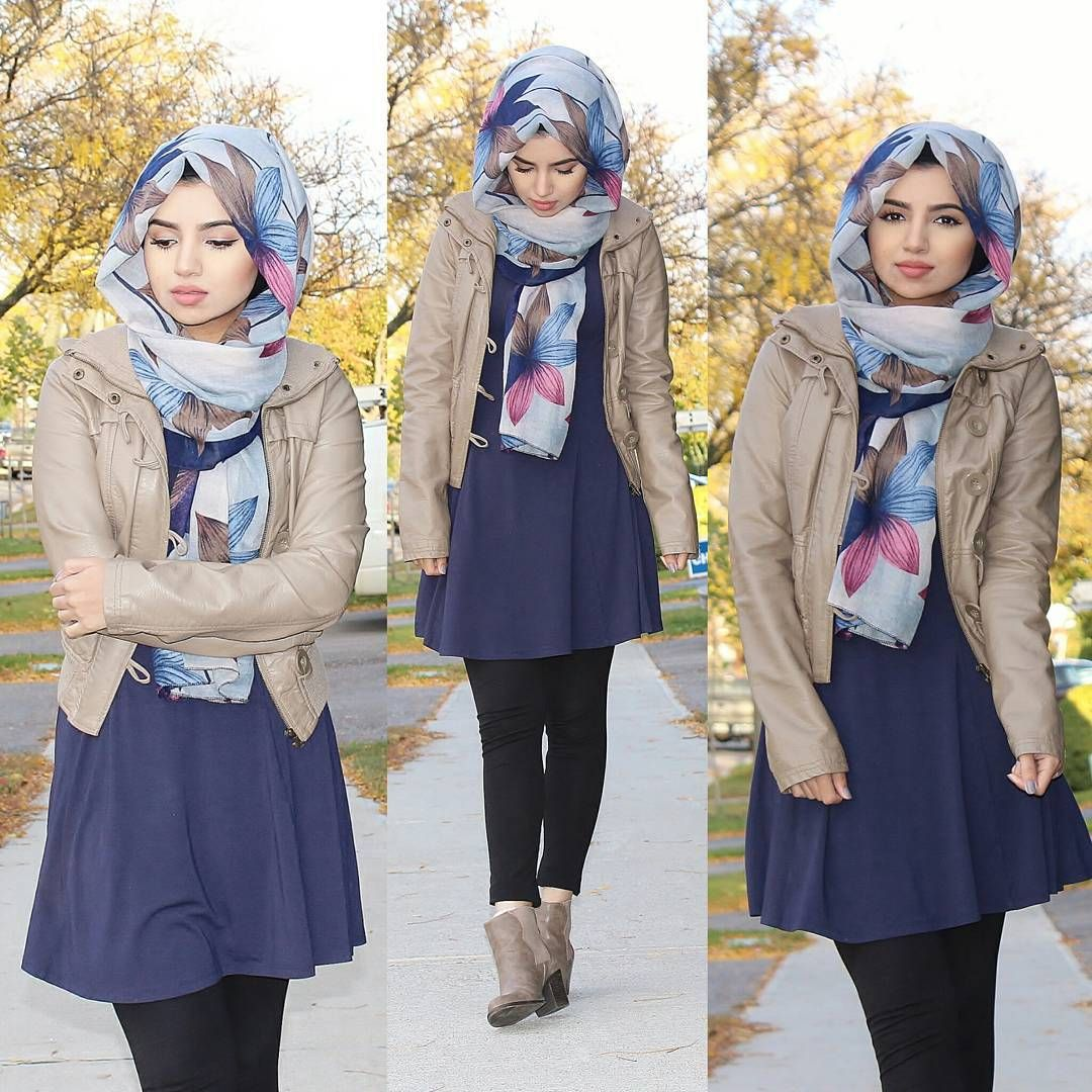 Leather jacket hijab - Blue Dress Floral Hijab And Leather Jacket Check Out Esma 3