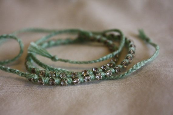 Green Friendship Bracelet with row of 50 faux by TreeOfEden, $18.00