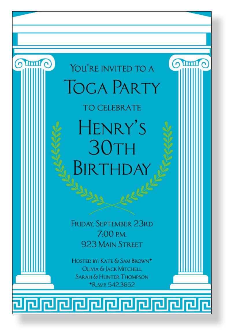 Toga Party A fun Greek themed invitation printed only on premium – Toga Party Invitations