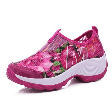 dd2ccfb27460 Mesh Platform Sole Rocker Breathable Casual Sports Shoes