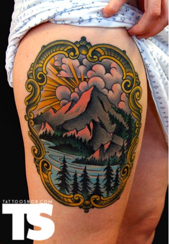 Framed mountain tattoo | Tattoo | Pinterest | Atlas tattoo, Tatting ...