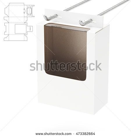 Shelf Box with Window and Die Cut Layout 3D Rendering