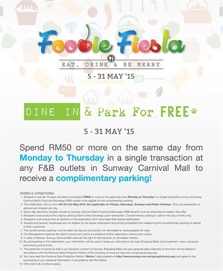 5-31 May 2015: Sunway Carnival Mall Foodie Fiesta Eat Drink and Be Merry